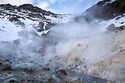 Hot springs, fumaroles and mudpots at Seltun Geothermal area at Krysuvik - Seltunshverir - Krysuvíkurhverir with minerals sediments on Reykjanes peninsula, Iceland