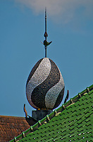 Egg-shaped tower ornament at Amlapura Palace in Bali, Indonesia