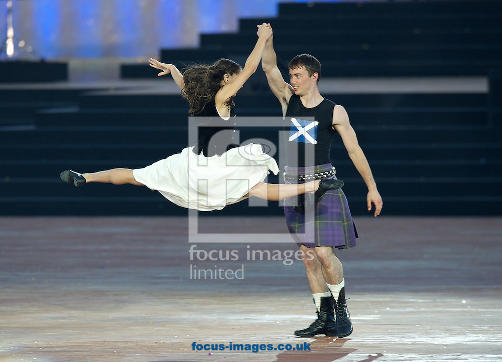 Two dancers from the Scottish ballet perform during the Glasgow 2014 Commonwealth Games Opening Ceremony at Celtic Park, Glasgow<br /> Picture by Alan Stanford/Focus Images Ltd +44 7915 056117<br /> 23/07/201