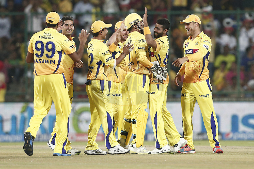 Chennai Superkings Players celebrates the wicket of  Quinton de Kock of the Delhi Daredevils during match 26 of the Pepsi Indian Premier League Season 2014 between the Delhi Daredevils and the Chennai Superkings held at the Ferozeshah Kotla cricket stadium, Delhi, India on the 5th May  2014<br /> <br /> Photo by Deepak Malik / IPL / SPORTZPICS<br /> <br /> <br /> <br /> Image use subject to terms and conditions which can be found here:  http://sportzpics.photoshelter.com/gallery/Pepsi-IPL-Image-terms-and-conditions/G00004VW1IVJ.gB0/C0000TScjhBM6ikg