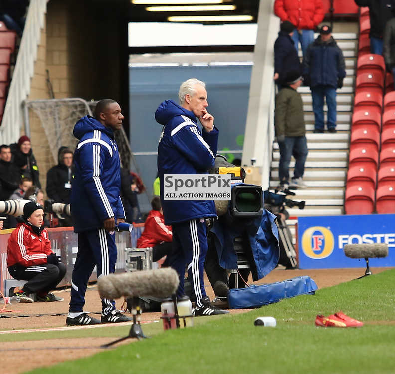 Ipswich Manager Mick McCarthy looks on in frustration during the Middlesbrough FC v Ipswich Town FC Sky Bet Championship 14th March 2015 ©Edward Linton | SportPix.org.uk