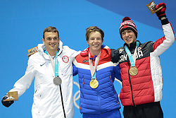 February 18, 2018 - Pyeongchang, South Korea - NICK GOEPPER of the United States (left) , OYSTEIN BRAATEN of Norway (center) and ALEX BEAULIEU-MARCHAND  of Canada with their medals from the Men's Slopestyle freestyle skiing event in the PyeongChang Olympic Games. (Credit Image: © Christopher Levy via ZUMA Wire)
