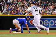 PHOENIX, ARIZONA - APRIL 08:  Nick Ahmed #13 of the Arizona Diamondbacks makes the fielder's choice at second base over the sliding Jason Heyward #22 of the Chicago Cubs in the third inning at Chase Field on April 8, 2016 in Phoenix, Arizona.  (Photo by Jennifer Stewart/Getty Images)