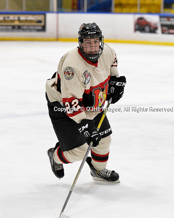 WHITBY, ON - Oct 9, 2015 : Ontario Junior Hockey League game action between Newmarket and Whitby, Nicholas Favaro #22 of the Newmarket Hurricanes during the first period.<br /> (Photo by Shawn Muir / OJHL Images)