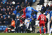 Beryly Lubala wins a header during the EFL Sky Bet League 2 match between Colchester United and Crawley Town at the JobServe Community Stadium, Colchester, England on 1 January 2020.