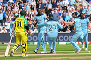 Wicket - Jofra Archer of England celebrates taking the wicket of Aaron Finch of Australia during the ICC Cricket World Cup 2019 semi final match between Australia and England at Edgbaston, Birmingham, United Kingdom on 11 July 2019.