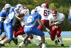 12 October 2002: Terry Ennis stares down the opponent while making a cut through the line.  Eastern Illinois University Panthers host and defeat the Colonels of Eastern Kentucky during EIU's Homecoming at Charleston Illinois.