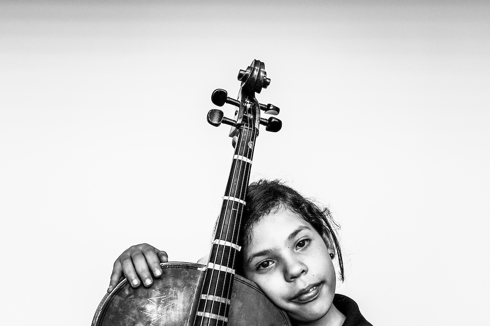 An El Sistema music student poses for a portrait at the La Rinconada nucleo in Caracas, Venezuela.