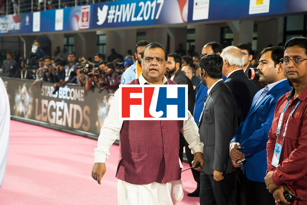 BHUBANESWAR - Hockey World League finals Match for bronze , Germany v India (1-2). FIH president Batra COPYRIGHT KOEN SUYK