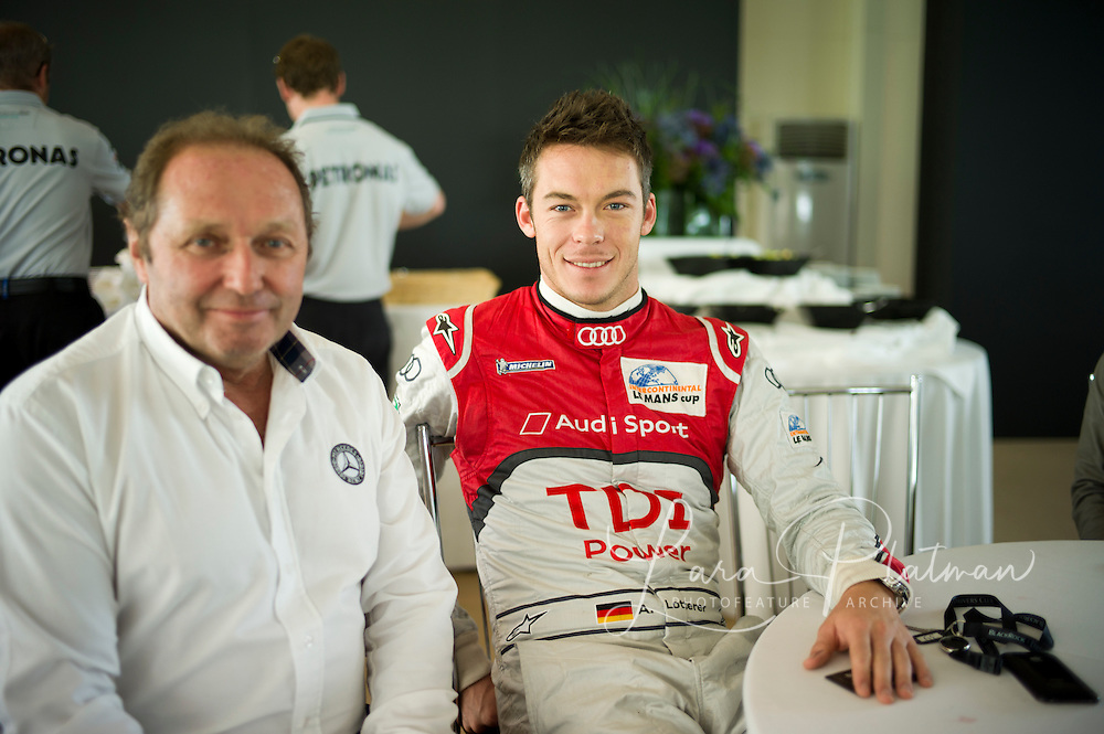 Andre Lotterer, Le Mans 24hr 2011 winner in the Audi here he sits with Jochen Mass,