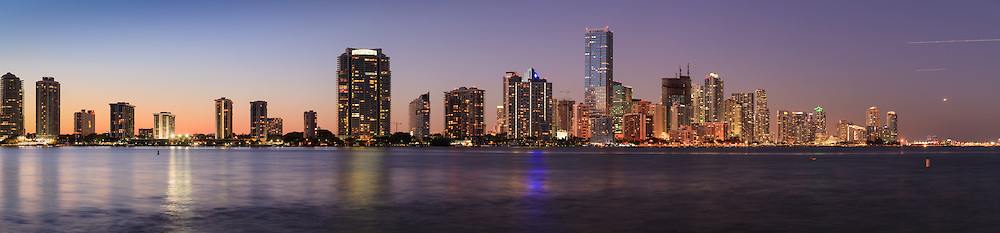 Panoramic View Of Buildings On Miami Floridas Brickell Avenue And Downtown Skyline Shortly After Sunset