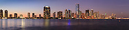 Panoramic view of buildings on Miami, Florida's Brickell Avenue and downtown skyline shortly after sunset.<br />