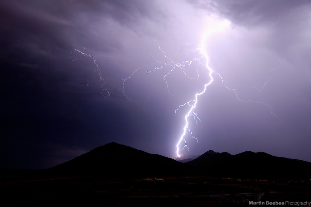 Lightning strike over mountains near Prescott, Arizona