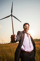 African American businessman (Tariq Sahali) in Discovery park promoting alternative energy.
