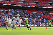 Forest Green Rovers Liam Noble(15) has a chance with an early free kick during the Vanarama National League Play Off Final match between Tranmere Rovers and Forest Green Rovers at Wembley Stadium, London, England on 14 May 2017. Photo by Shane Healey.