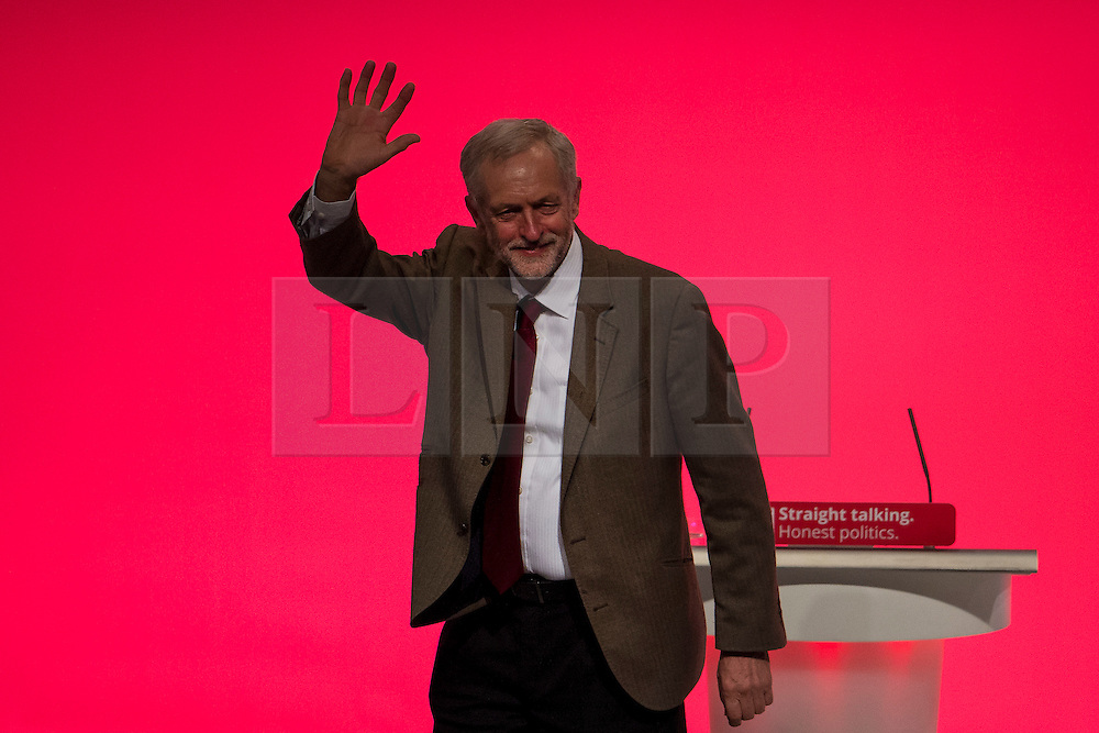 © Licensed to London News Pictures. 29/09/2015. Brighton, UK. Labour party leader JEREMY CORBYN following his leaders speech on day three of the 2015 Labour Party Conference, held at the Brighton Centre in Brighton, East Sussex.  Photo credit: Ben Cawthra/LNP