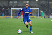 AFC Wimbledon midfielder Scott Wagstaff (7) dribbling during the EFL Sky Bet League 1 match between AFC Wimbledon and Lincoln City at the Cherry Red Records Stadium, Kingston, England on 2 November 2019.