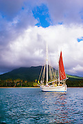 356207-1001 ~ Copyright:  George H. H. Huey ~ Sailboat at anchor off of Pinney's Beach.  Island of  Nevis.   Caribbean.  Country name:  St. Kitts and Nevis.