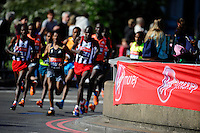 Virgin Money branding early in the Elite Men's race <br /> The Virgin Money London Marathon 2014<br /> 13 April 2014<br /> Photo: Javier Garcia/Virgin Money London Marathon<br /> media@london-marathon.co.uk