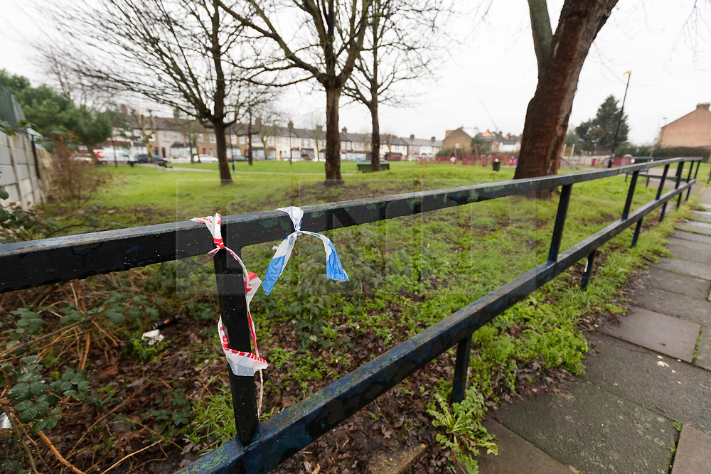 © Licensed to London News Pictures. 01/02/2019. London, UK.  Police tape seen on the fence of a park area in Saxton Road in Newham where the police were called last night to reports of an abandoned baby. Photo credit: Vickie Flores/LNP