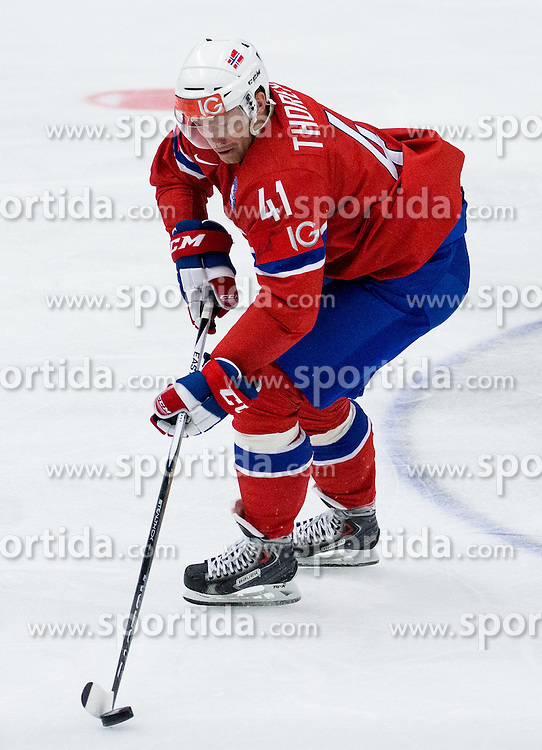 Patrick Thoresen of Norway during Ice Hockey match between Russia and Norway at Day 1 in Group B of 2015 IIHF World Championship, on May 1, 2015 in CEZ Arena, Ostrava, Czech Republic. Photo by Vid Ponikvar / Sportida