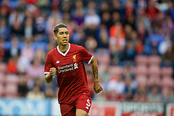 WIGAN, ENGLAND - Friday, July 14, 2017: Liverpool's Roberto Firmino in action against Wigan Athletic during a preseason friendly match at the DW Stadium. (Pic by David Rawcliffe/Propaganda)
