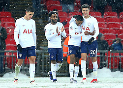 Kyle Walker-Peters of Tottenham Hotspur celebrates with teammates after scoring a goal to make it 6-1 and his first for the club - Mandatory by-line: Robbie Stephenson/JMP - 28/02/2018 - FOOTBALL - Wembley Stadium - London, England - Tottenham Hotspur v Rochdale - Emirates FA Cup fifth round proper