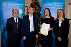 NEWPORT, WALES - Wednesday, December 12, 2018: Monique van der Zijde receives her certificate from Wales national team manager Ryan Giggs alongside Jean-Loup Chappelet, UEFA CFM Dean (L) and Valentina Mercolli, UEFA HatTrick Programme Manager (R) during the UEFA Certificate of Football Management Graduation Ceremony in the 2010 Clubhouse at the Celtic Manor Resort. (Pic by David Rawcliffe/Propaganda)