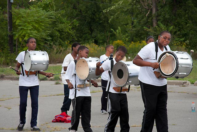 Student band practice from Arts & Science Academy at Chene and Medbury St. in Detroit Michigan