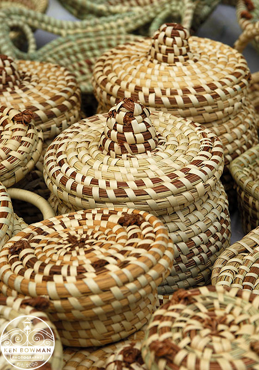 Sweetgrass baskets at the Charleston City Market.