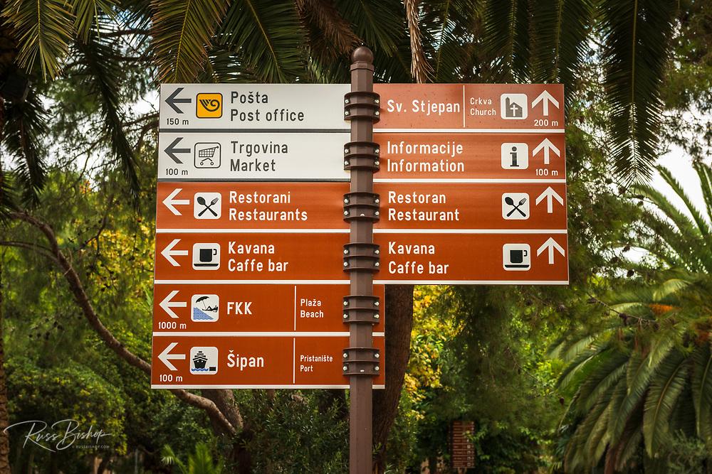 Street sign, Sipanska Luka, Sipan Island, Dalmatian Coast, Croatia