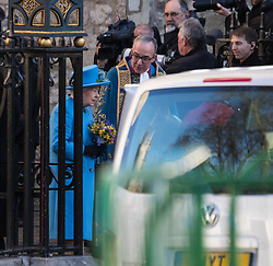 Westminster Abbey, London, March 14th 2016.  Her Majesty The Queen, Head of the Commonwealth, accompanied by The Duke of Edinburgh, The Duke and Duchess of Cambridge and Prince Harry attend the Commonwealth Service at Westminster Abbey on Commonwealth Day. PICTURED: The Queen leaves Westminster Abbey at the end of the service.