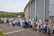 A queue of Brighton fans arrive for the live beamback at the American Express Community Stadium in Brighton during the Sky Bet Championship match between Middlesbrough and Brighton and Hove Albion at the Riverside Stadium, Middlesbrough, England on 7 May 2016. Photo by Bennett Dean.
