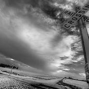 Railroad Crossing, Stafford County Kansas black and white.