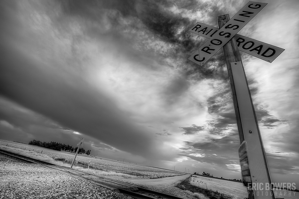 Railroad Crossing, Stafford County Kansas black and white.