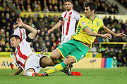 Norwich City midfielder Nelson Oliveira scores during the EFL Sky Bet Championship match between Norwich City and Brentford at Carrow Road, Norwich, England on 3 December 2016. Photo by Nigel Cole.