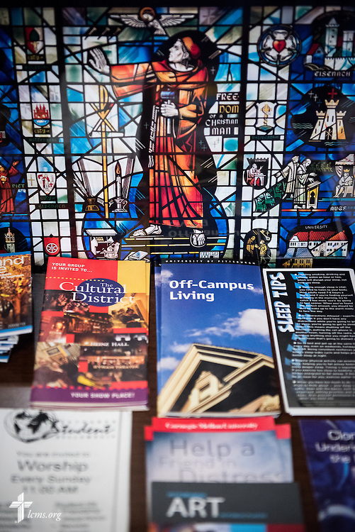 Literature in the Luther House student center at First Trinity Evangelical–Lutheran Church on Sunday, Nov. 20, 2016, in Pittsburgh. LCMS Communications/Erik M. Lunsford