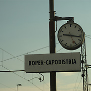 Border between Italy and Slovenia. Train station of Koper in Slovenia/Italy.