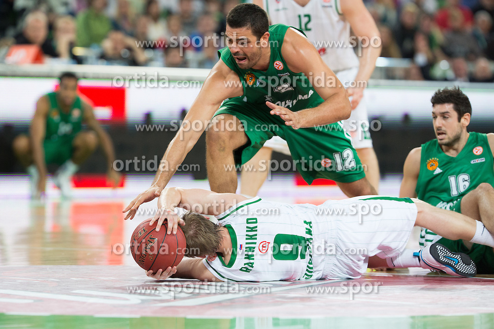 Teemu Rannikko of Union Olimpija vs Vasilis Xanthopoulos of Panathinaikos and Kostas Tsartsaris of Panathinaikos during basketball match between KK Union Olimpija and Panathinaikos Athens (GRE) in 3rd Round of Regular season of Euroleague 2012/13 on October 26, 2012 in Arena Stozice, Ljubljana, Slovenia. Panathinaikos defeated Union Olimpija 85:67. (Photo By Matic Klansek Velej / Sportida)