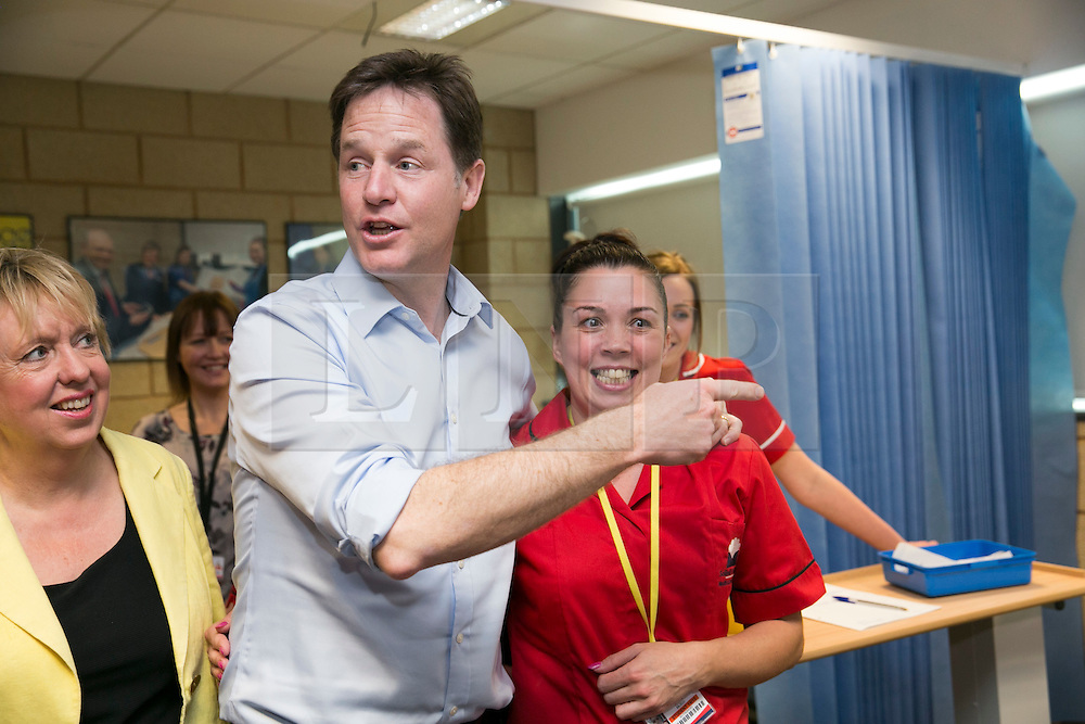 © Licensed to London News Pictures. 01/05/2015. Solihull, West Midlands, UK. Deputy Prime Minister Nick Clegg visiting Solihull College to meet Health and Social Care students. Photo credit : Dave Warren/LNP