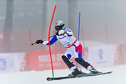 Solene Jambaque competing in the Alpine Skiing Super Combined Slalom at the 2014 Sochi Winter Paralympic Games, Russia