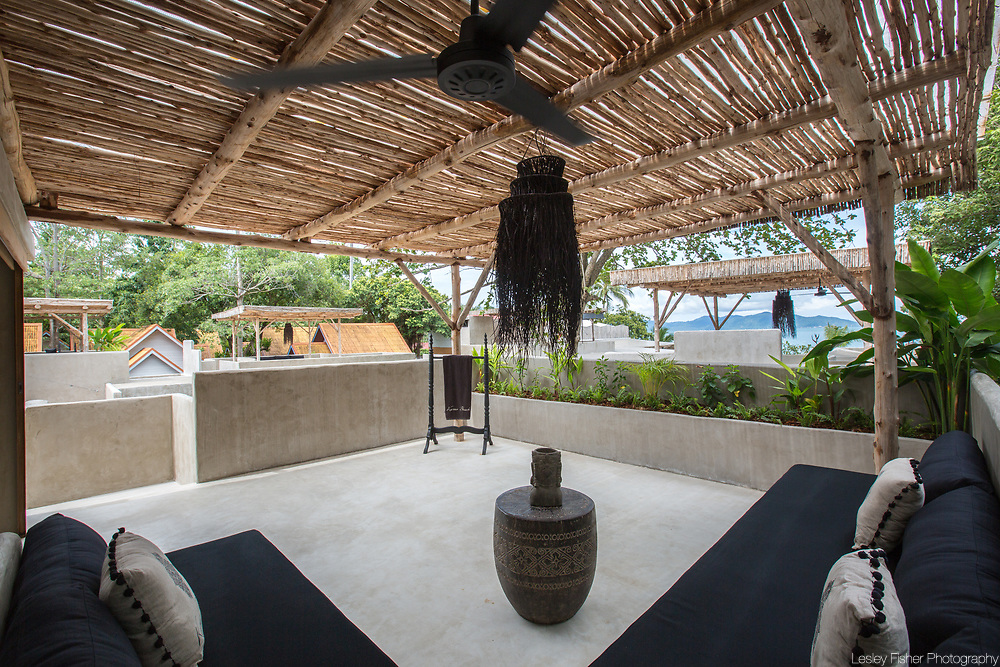 Outdoor terrace and lounge of Terrace villa at Karma Beach Resort. A Beach resort located on Bophut Beach, Koh Samui, Thailand