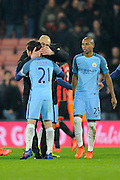 Manchester City manager Josep Guardiola celebrates the 2-0 win over Bournemouth at full time with David Silva (21) of Manchester City during the Premier League match between Bournemouth and Manchester City at the Vitality Stadium, Bournemouth, England on 13 February 2017. Photo by Graham Hunt.