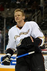 April 2, 2011; San Jose, CA, USA;  Anaheim Ducks right wing Corey Perry (10) warms up before the game against the San Jose Sharks at HP Pavilion. Mandatory Credit: Jason O. Watson / US PRESSWIRE