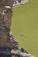 Boat floating on the Bighorn River, seen from Devil Canyon Overlook, Bighorn Canyon National Monument Montana