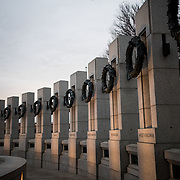 Washington, DC - The National World War II Memorial, dedicated to those who served in the Second World War, stands in the middle of the National Mall between the Washington Monument and the Lincoln Memorial Reflecting Pool.