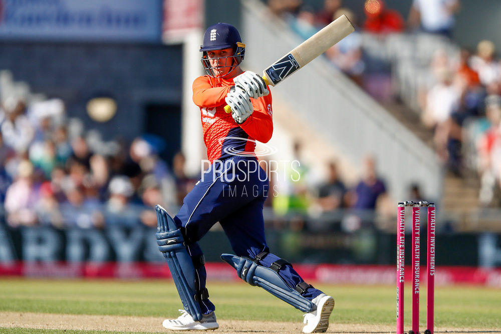Swing and a miss from England T20 batsman Jason Roy  during the International T20 match between England and India at Old Trafford, Manchester, England on 3 July 2018. Picture by Simon Davies.