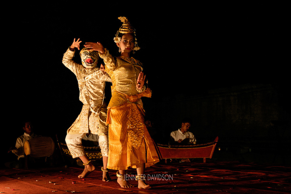 Apsara dancers perform the Dance of the Golden Mermaid at Banteay Samre, and Angkor temple and UNESCO World Heritage Site, at night.