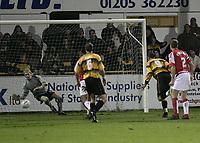 Photo: Barry Bland.<br />Boston United v Swindon Town. The FA Cup. 16/11/2005.<br />Julian Joachim scores his third goal.
