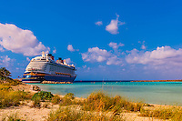 Disney Dream cruise ship docked at Castaway Cay (Disney's private island), The Bahamas